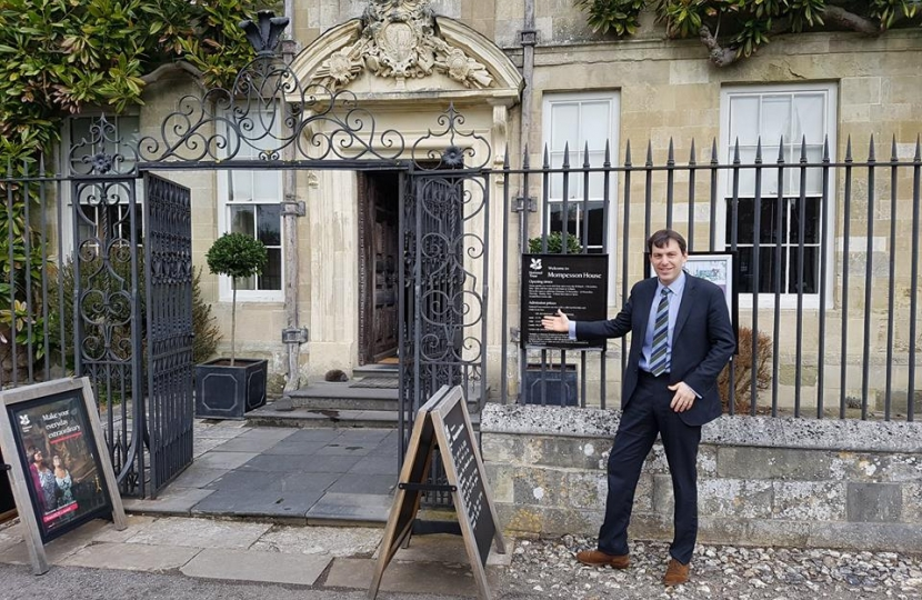 John outside Mompesson House